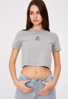 Factorie - Fitted graphic t shirt - washed grey/holding sun