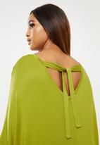 edit Plus - Easy cacoon tie back dress - green