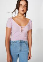 Factorie - Ladder detail short sleeve top - pink