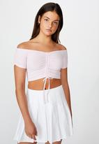 Factorie - Pull front off the shoulder rib top - pink