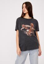 Factorie - Relaxed graphic T-shirt - washed black