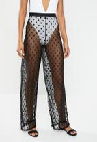 Missguided - Spot mesh trouser - black