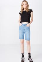 Factorie - Short sleeve pointelle top - black