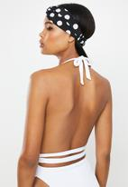 Missguided - Rib plunge backless high leg swimsuit - white