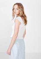 Factorie - Short sleeve pointelle top - white