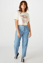 Factorie - Short sleeve raw edge crop T-shirt - washed ivory
