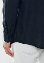 Brave Soul - Dumfries linen blend shirt - navy
