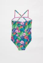 POP CANDY - Tropical one piece frill detail swimsuit - multi