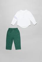 POP CANDY - Boys shirt & pants set - white & green