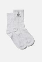 Cotton On - Fine rib sports sock - deathly hallow/grey marle