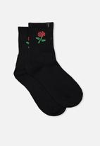 Factorie - Retro sport sock - black rose