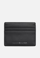 Tommy Hilfiger - Stitched leather credit card holder - black