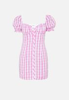 Glamorous - Petite gingham puff sleeve mini - pink & white