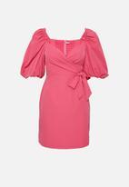 Glamorous - Petite mini wrap dress with volume puff sleeve - pink