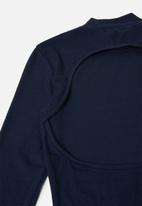 Glamorous - Petite bodycon turtle neck midi with slit - navy