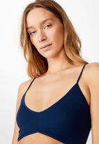 Cotton On - Seamfree rib ballet bralette - pacific blue