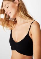 Cotton On - Seamfree rib ballet bralette - black