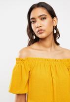 VELVET - Tie back bardot blouse - yellow