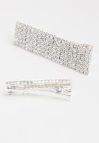 Superbalist - 2 Pack diamante hair slides - silver
