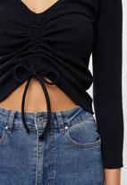 Superbalist - Stretch rib drawcord tee - black