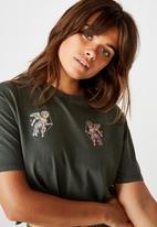 Factorie - Short sleeve raw edge crop T-shirt - khaki