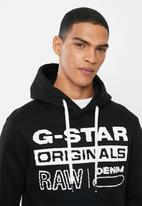 G-Star RAW - Originals hooded sw long sleeve top - dark black