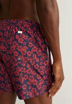 MANGO - Hibiscus swimming trunks - red & navy