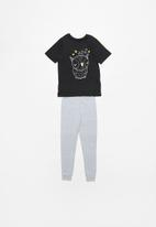 POP CANDY - Boys tee & pants pj set - black & grey melange