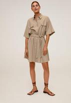 MANGO - Dress tanita - medium brown