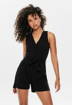 Jacqueline de Yong - Skylar short sleeve playsuit - black