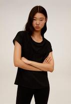 MANGO - T-shirt blonde - black