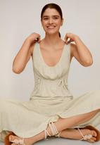 MANGO - Linen dress- white