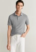 MANGO - Gofre polo shirt - grey