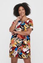 Carmakoma - Luxlou short sleeve V-neck knee dress - multi