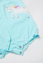 POP CANDY - Girls ruffle sleeve playsuit - blue