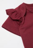 POP CANDY - Girls frill detail babygrow - burgundy