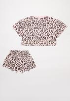 POP CANDY - Animal print tee & shorts set - pink & black