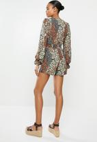 Missguided - Floral tie front shirred waist playsuit - multi
