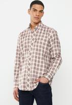 Ben Sherman - Check long sleeve shirt - off white