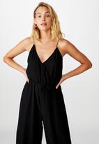 Cotton On - Woven vera v neck wrap jumpsuit - black
