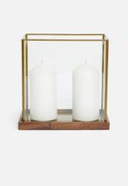 H&S - Rectangular glass lantern - brass antique gold