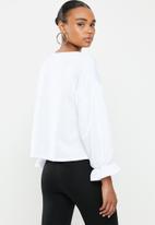 Missguided - Balloon sleeve frill cuff sweatshirt - white