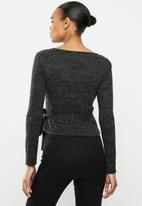 Missguided - Brushed wrap top - black