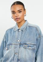 Missguided - Oversized 90s fit denim jacket co ord - blue
