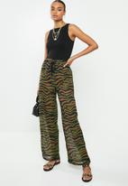 Missguided - Zebra neon detail chiffon trouser - multi
