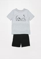 POP CANDY - Boys shorts & tee pj set - grey & black