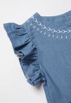 POP CANDY - Girls frill sleeve printed dress - blue