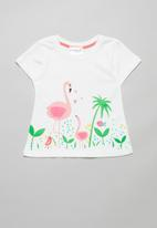 POP CANDY - Girls flamingo tee - white
