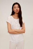 MANGO - T-shirt blonde - cream