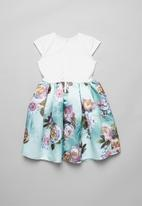 POP CANDY - Combo fabric dress - blue & white